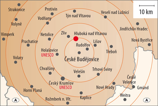Hluboká nad Vltavou South Bohemia Map, source: MCU
